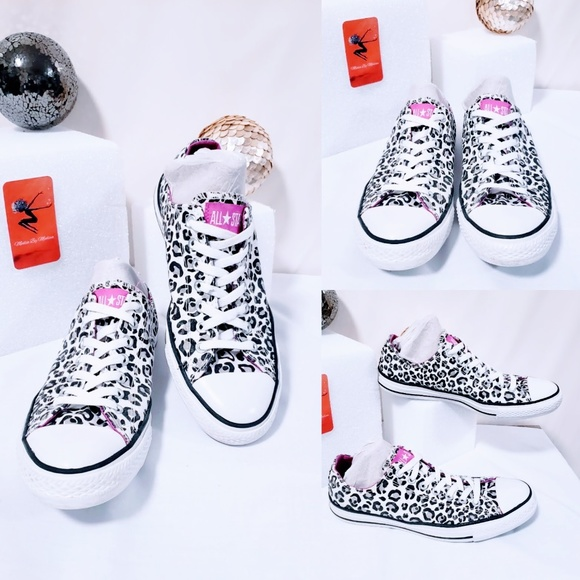 Converse Other - Converse All Star white leopard print sneakers🦄💋